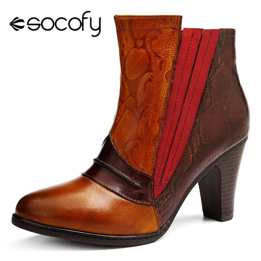 Shoes Socofy Vintage Genuine Leather Boots Women Shoes Woman Retro