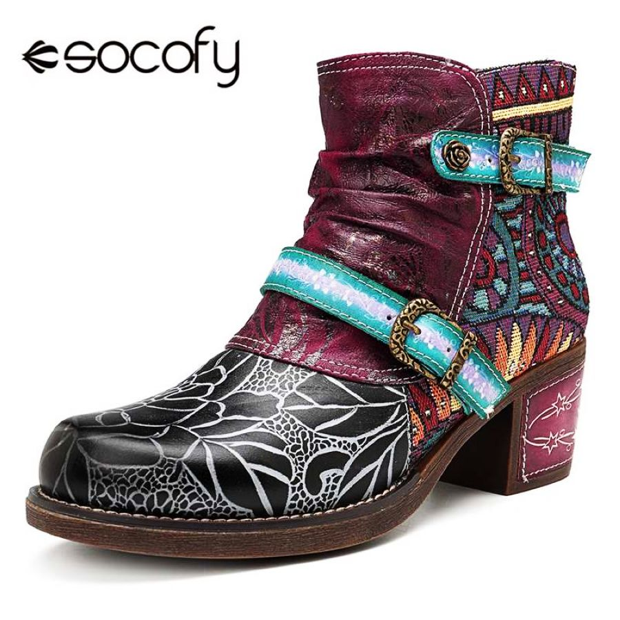Shoes Socofy Printed Genuine Leather Splicing Ankle Boots For Women