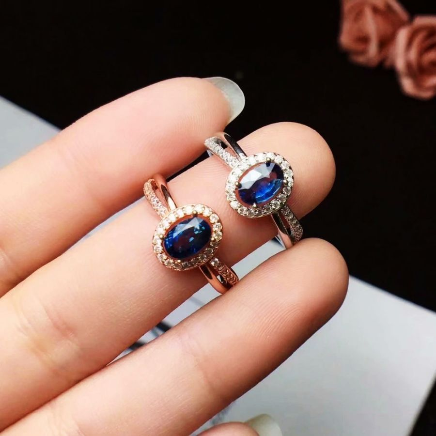 100 925 Sterling Silver Real Natural Sapphire Rings Fine Jewelry