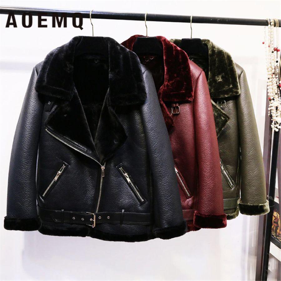 Aoemq Retro New Lapel And Velvet Padded Fur One Coat