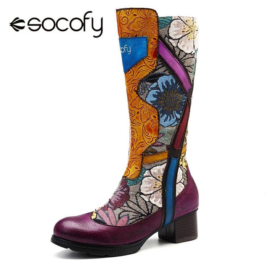 Socofy moda retro mediados de pantorrilla botas mujer c