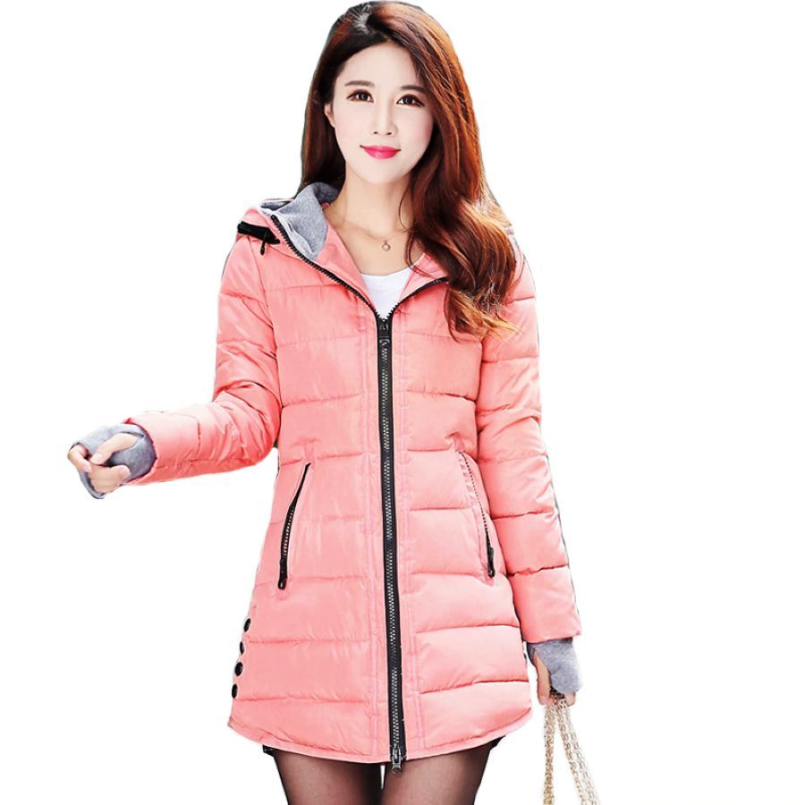 Winter Hooded Warm Coat Plus Size Cotton Padded Tight Quinlted
