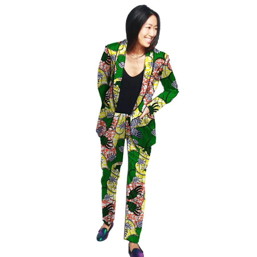 Formal Shawl Collar Blazers For Women With Trouser Custom African