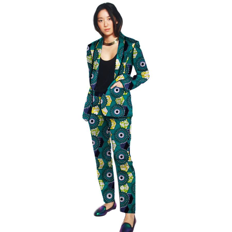 Shawl Collar Blazers For Women With Trouser Custom African Print