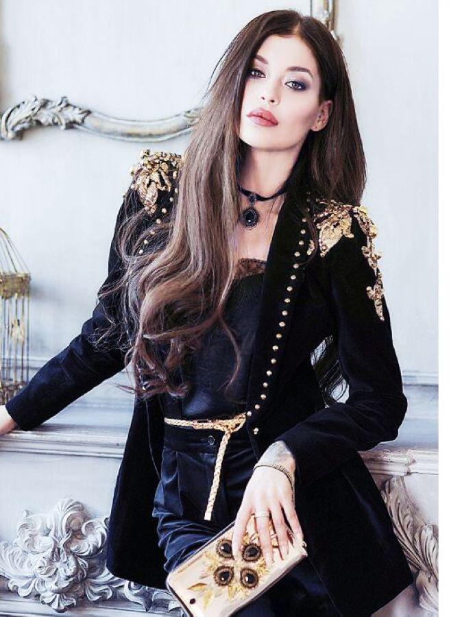 Women Embroider Suit Black Velvet Long Sleeves Formal Warm Coat