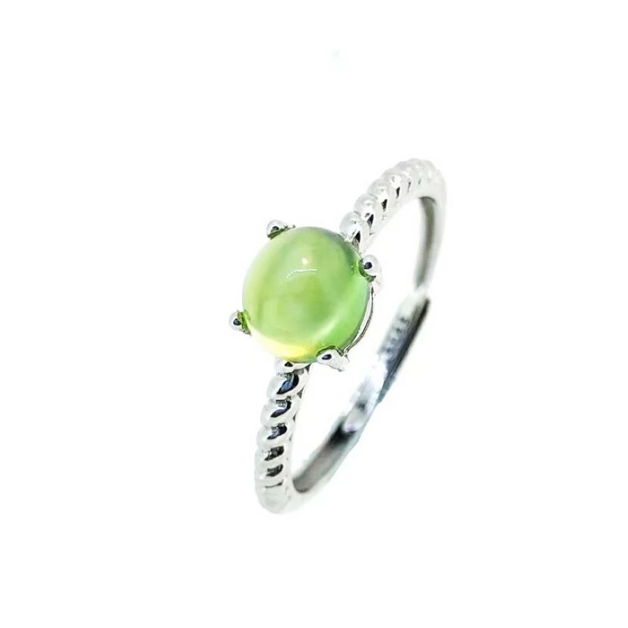 100 925 Sterling Silver Natural Prehnite Rings Fine Jewelry Gift