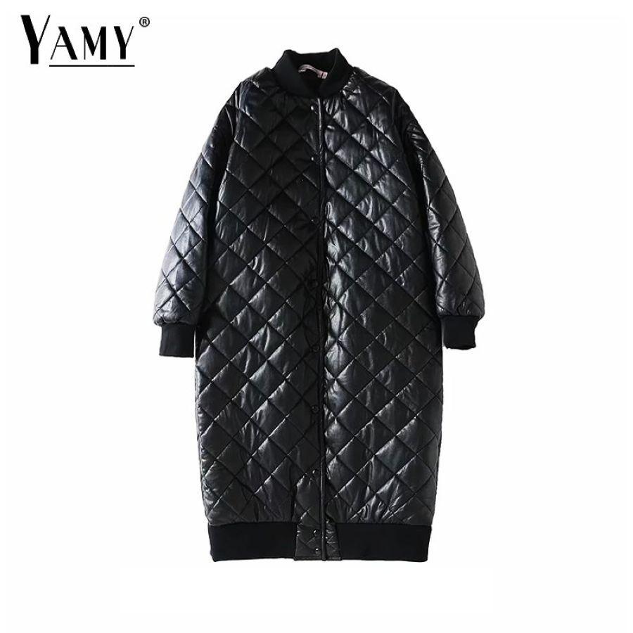 2019 Chamarras De Mujer Long Puffer Jacket Women Warm Pu