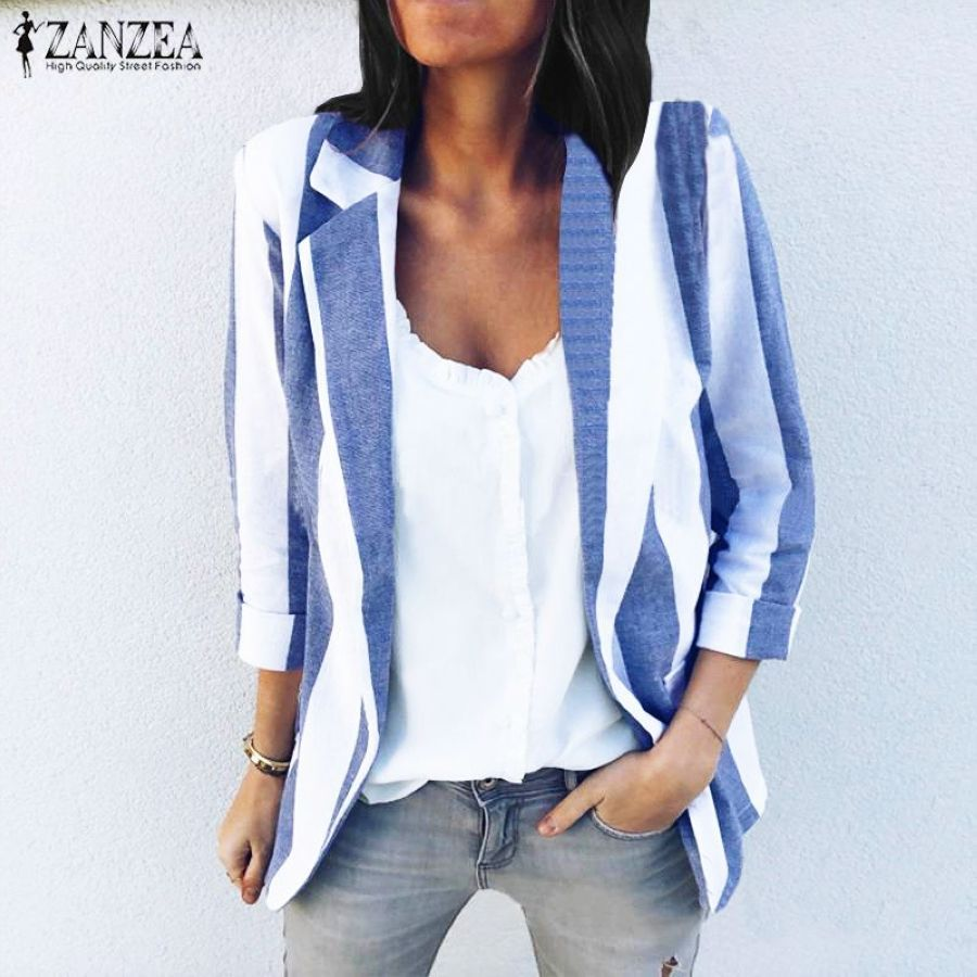 Zanzea 2019 Spring Striped Blazers Jackets Women Suits Female Casual