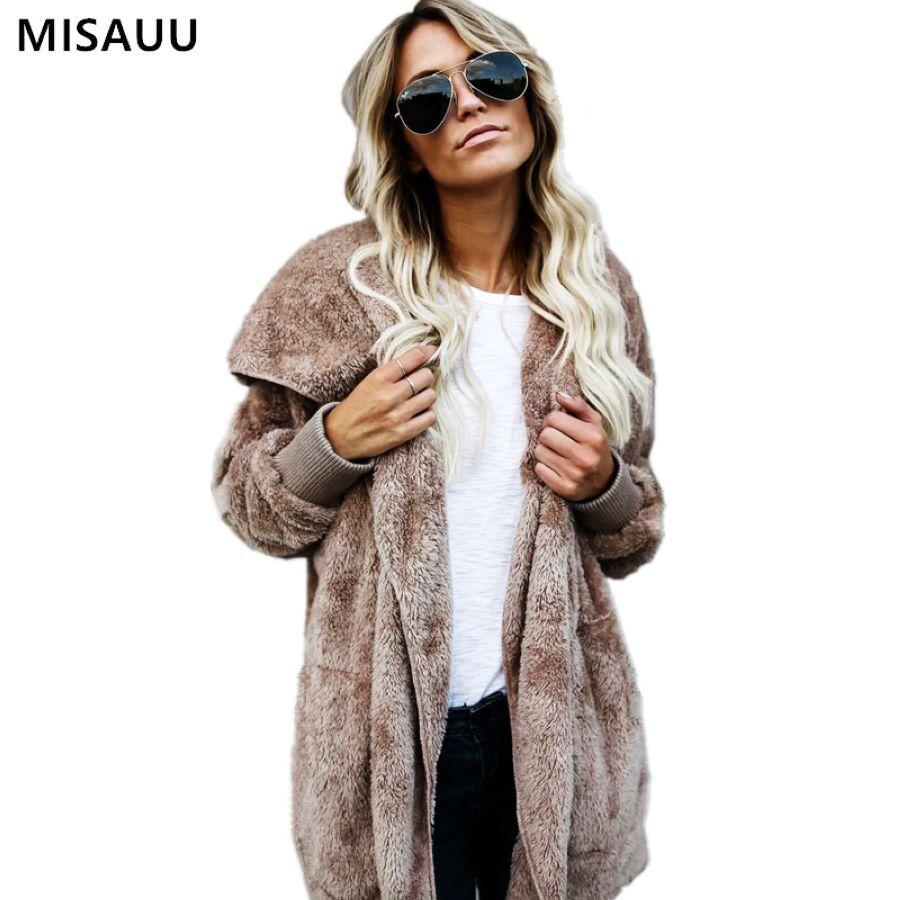 S-5xl mujeres de color sólido abrigo de lana suave invi