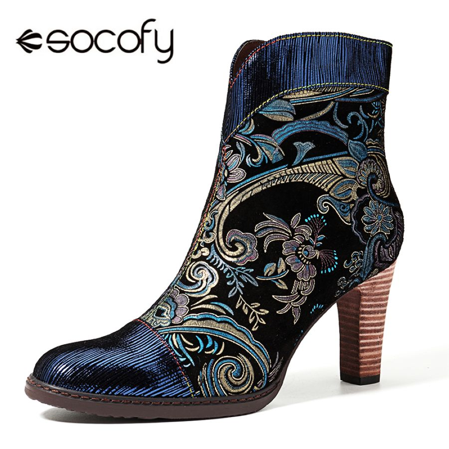 Socofy Retro Printed Sheep Women Boots Leather Boots Wo