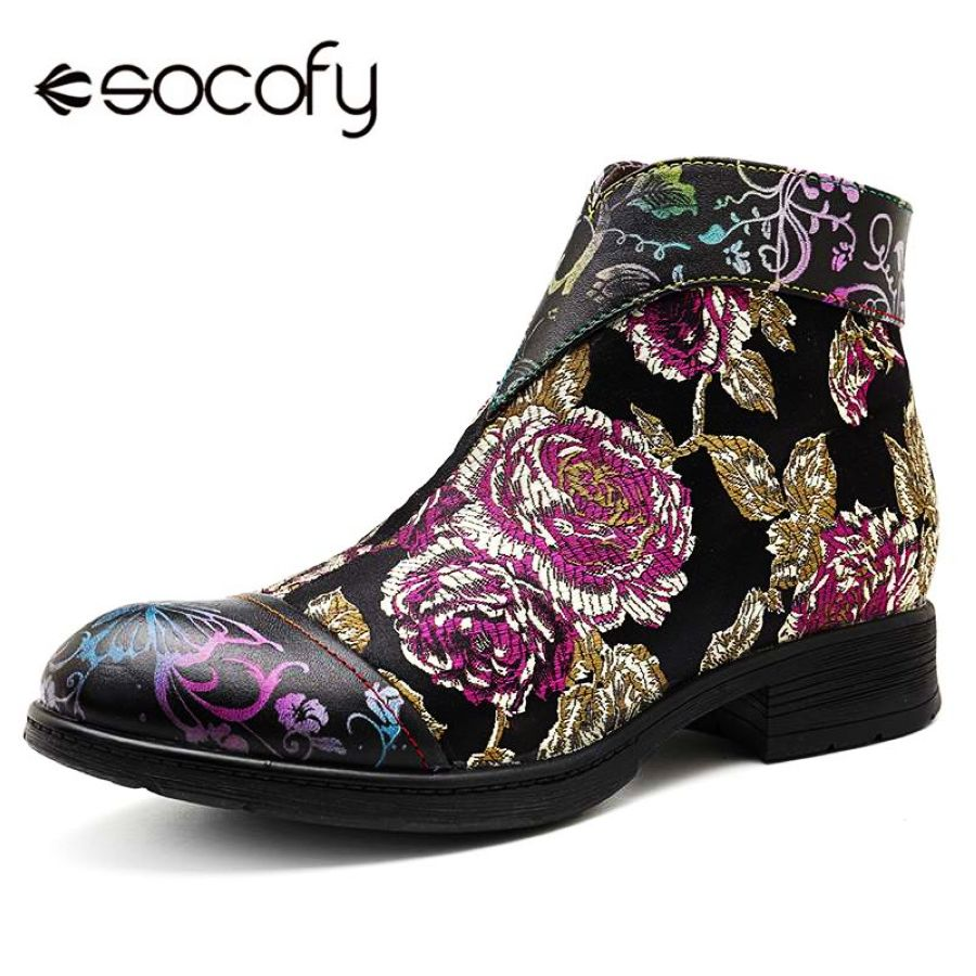 Shoes Socofy Printed Genuine Leather Boots Women Shoes Woman Casual