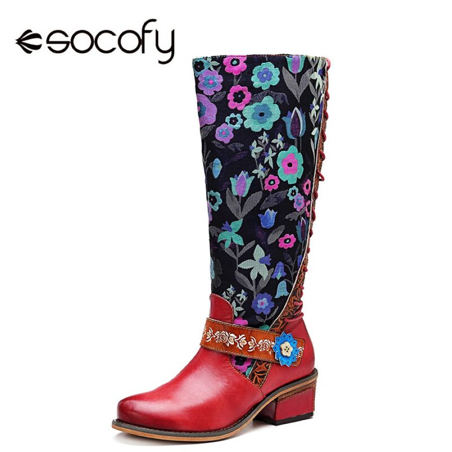 Shoes Socofy Retro Printed Flower Cowgirl Boots Women Shoes Woman