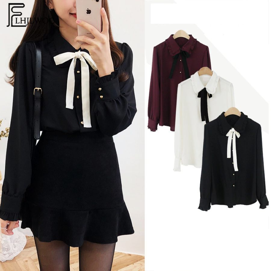Chiffon Blouses Shirts New Hot Sales Preppy Style Girls Bow