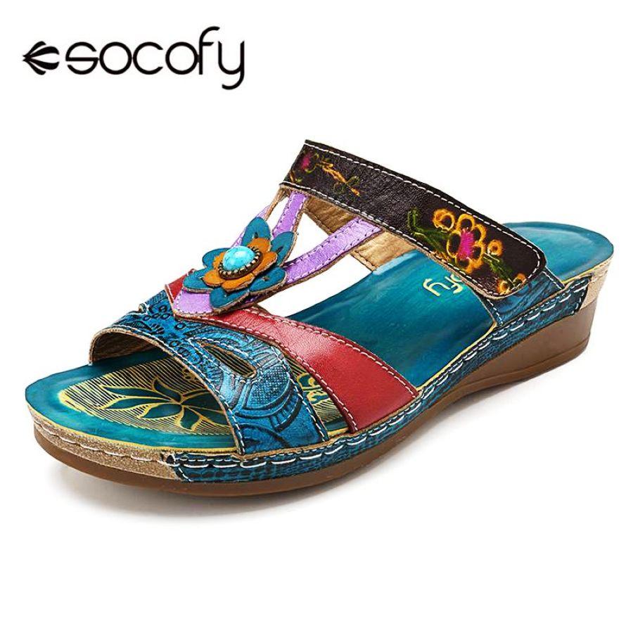 Shoes Socofy Plus Size Vintage Bohemian Women Slippers Low Heel