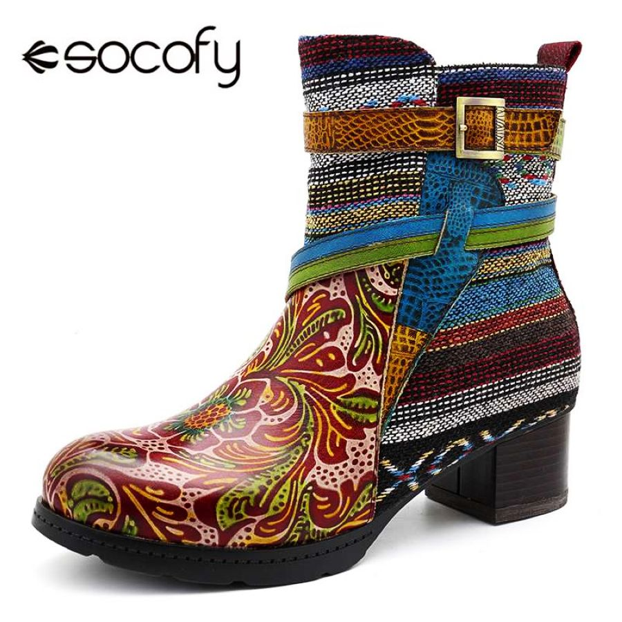 Shoes Socofy Bohemian Cow Leather Ankle Boots For Women Shoes