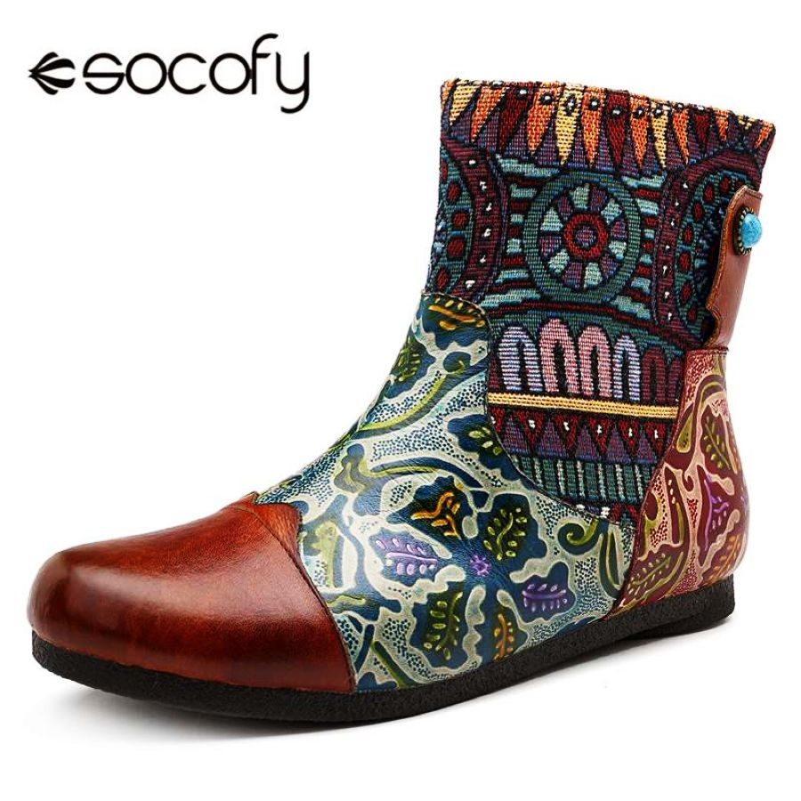 Shoes Socofy Retro Printed Genuine Leather Boots Women Shoes Woman
