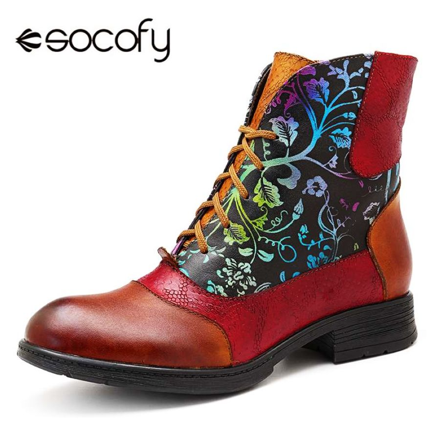 Socofy botas cortas con forro de piel zapatos de mujer