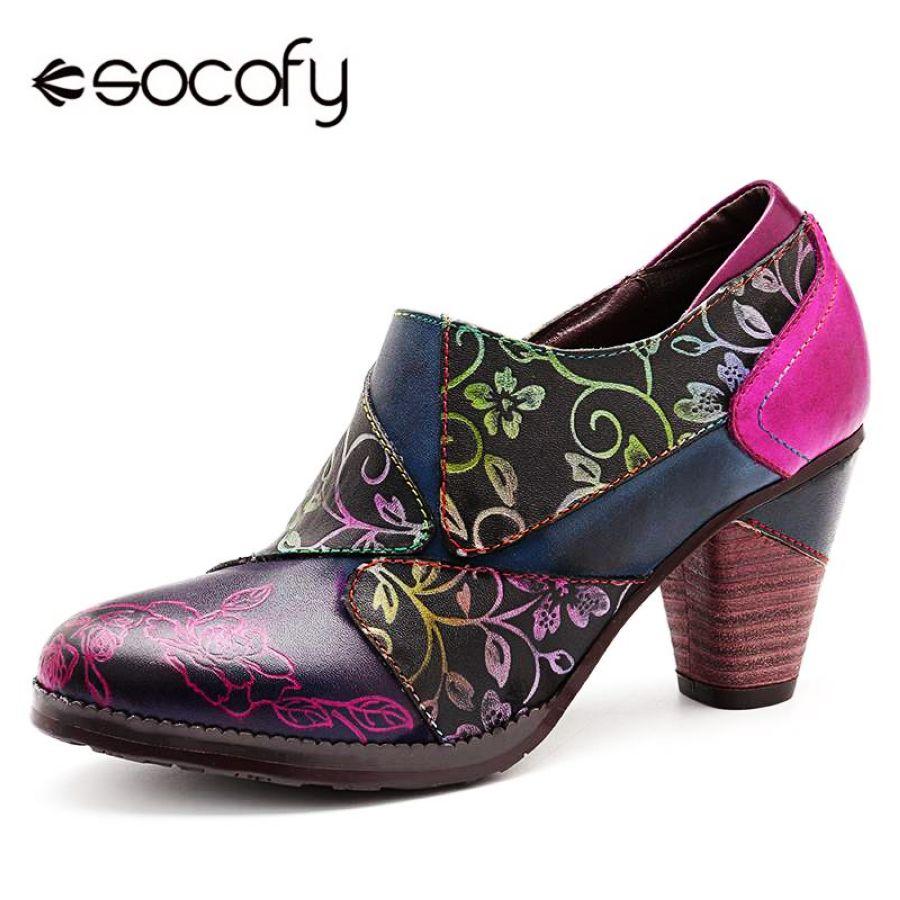 Socofy retro bombas bohemias zapatos de mujer tacón alt