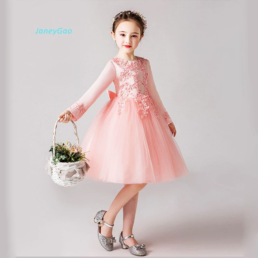 Janeygao Flower Girl Dresses For Wedding Party With Long Sleeves