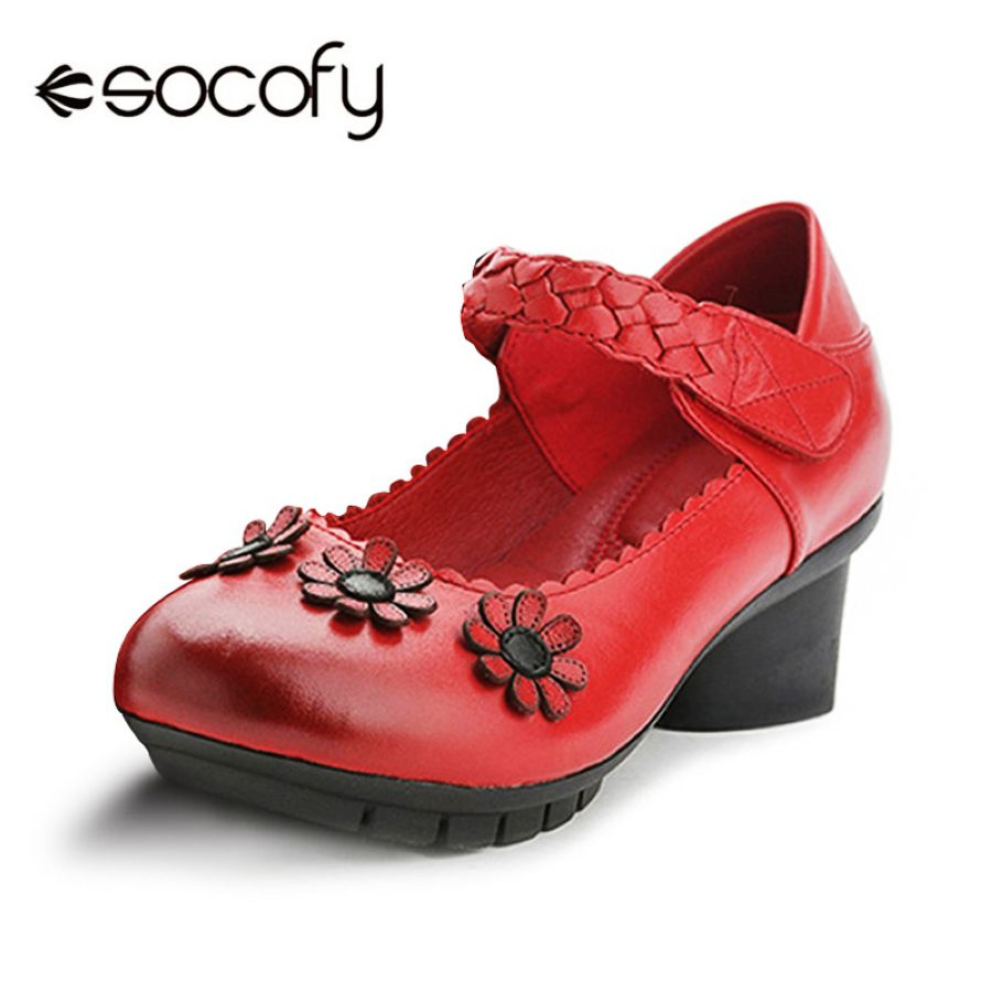 Shoes Socofy Women Pumps Flower Retro Genuine Leather Shoes Woman