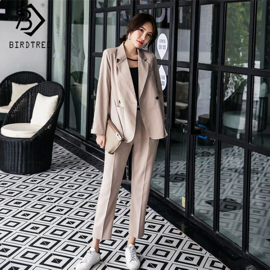 2019 Spring New Womens Long Sleeve Blazer Suits Double Breasted