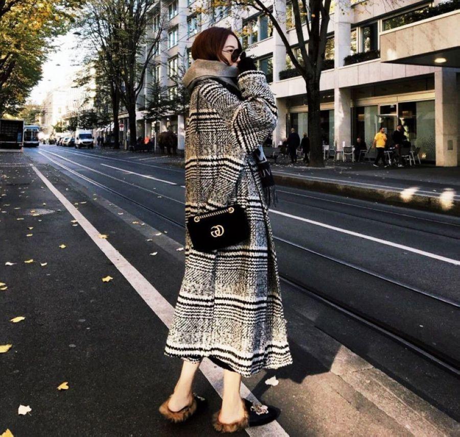 2019 Autumn Winters Over-The-Knee Long Plover Case Woollen Overcoat Woolen