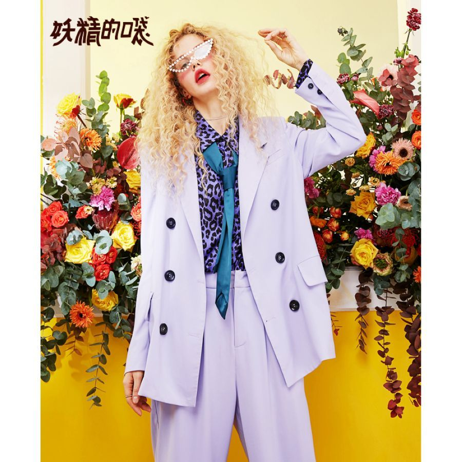 Elf Sack New Casual Woman Blazer Solid Double Breasted Blazer