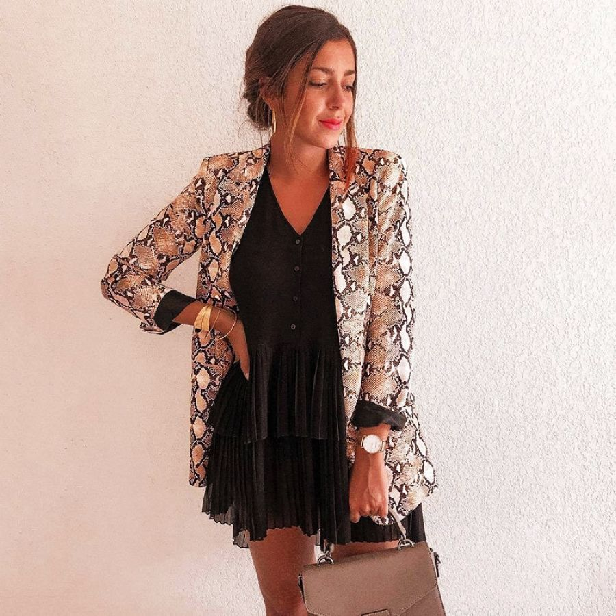 2019 Chic Women Snake Print Blazer Notched Collar Long Sleeve