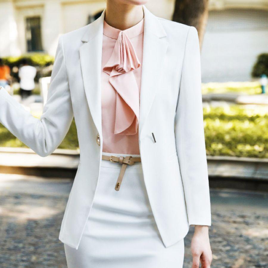 Autumn Occupation Fashion White Suit Business Affairs Work Clothes Korean