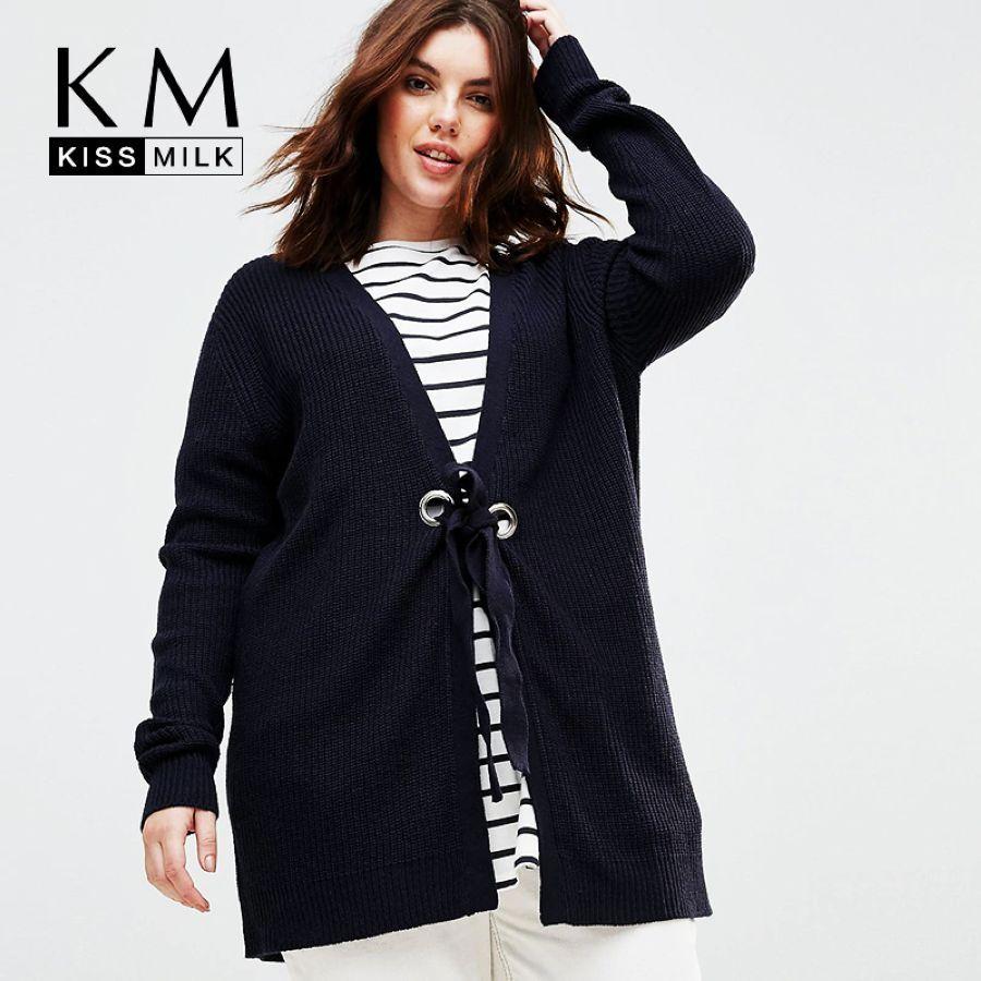 Kissmilk Plus Size Simple And Versatile Loose Cardigan Round Hole