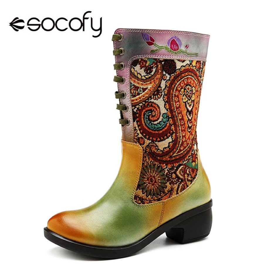 Shoes Socofy Bohemian Genuine Leather Women Mid-Calf Boots Shoes Woman