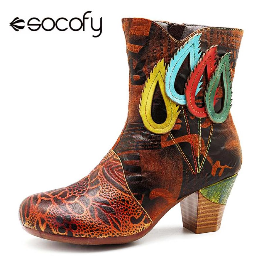 Shoes Socofy Vintage Genuine Leather Boots Women Shoes Woman Autumn