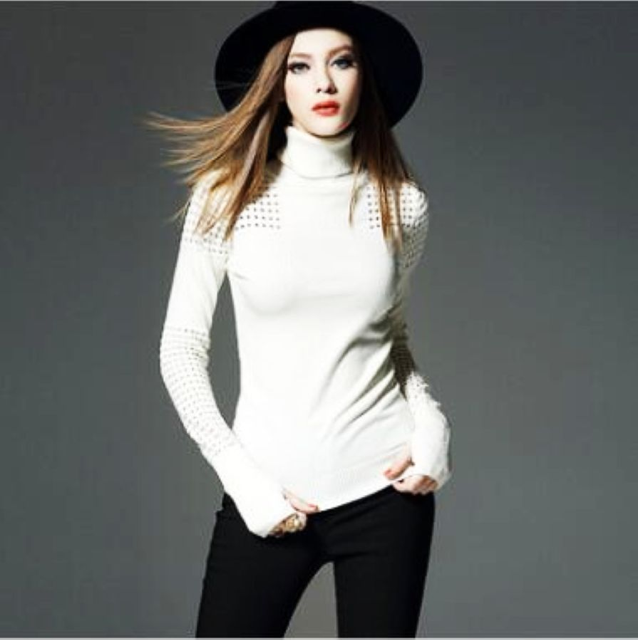 New Women Warm Winter Wool Pullovers Sweaters Solid Color Clothing