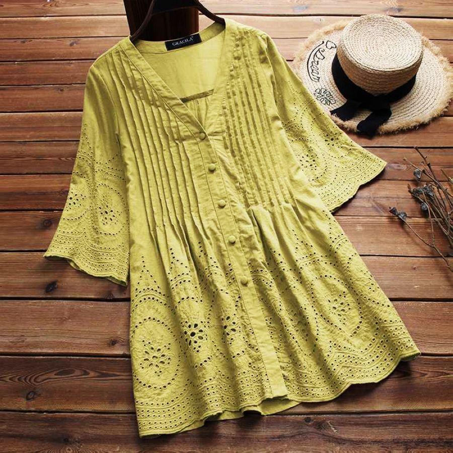 2019 Summer Women Cotton Linen Blouse Elegant Embroidery Hollow Blusas