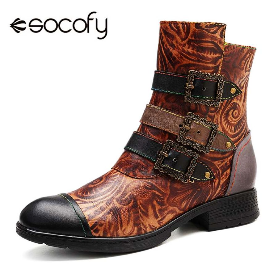 Shoes Socofy Vintage Bohemian Motorcycle Boots Women Three Buckle Decor