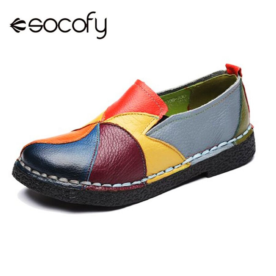 Shoes Socofy Vintage Genuine Leather Splicing Loafers Retro Soft Sole