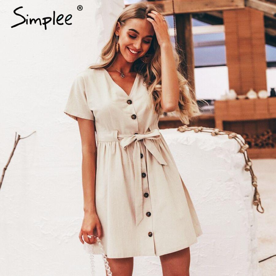 Vintage Button Women Dress Shirt V Neck Short Sleeve Cotton