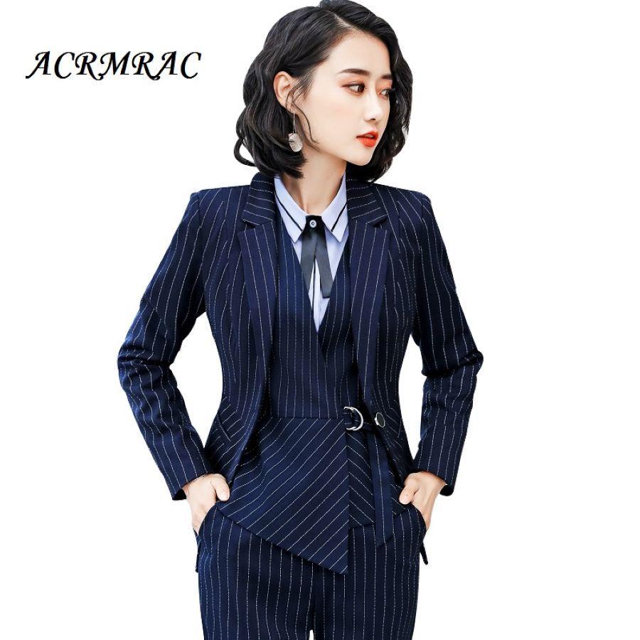 Acrmrac Women Suits Slim Stripe Jacket Pants Ol Business Formal