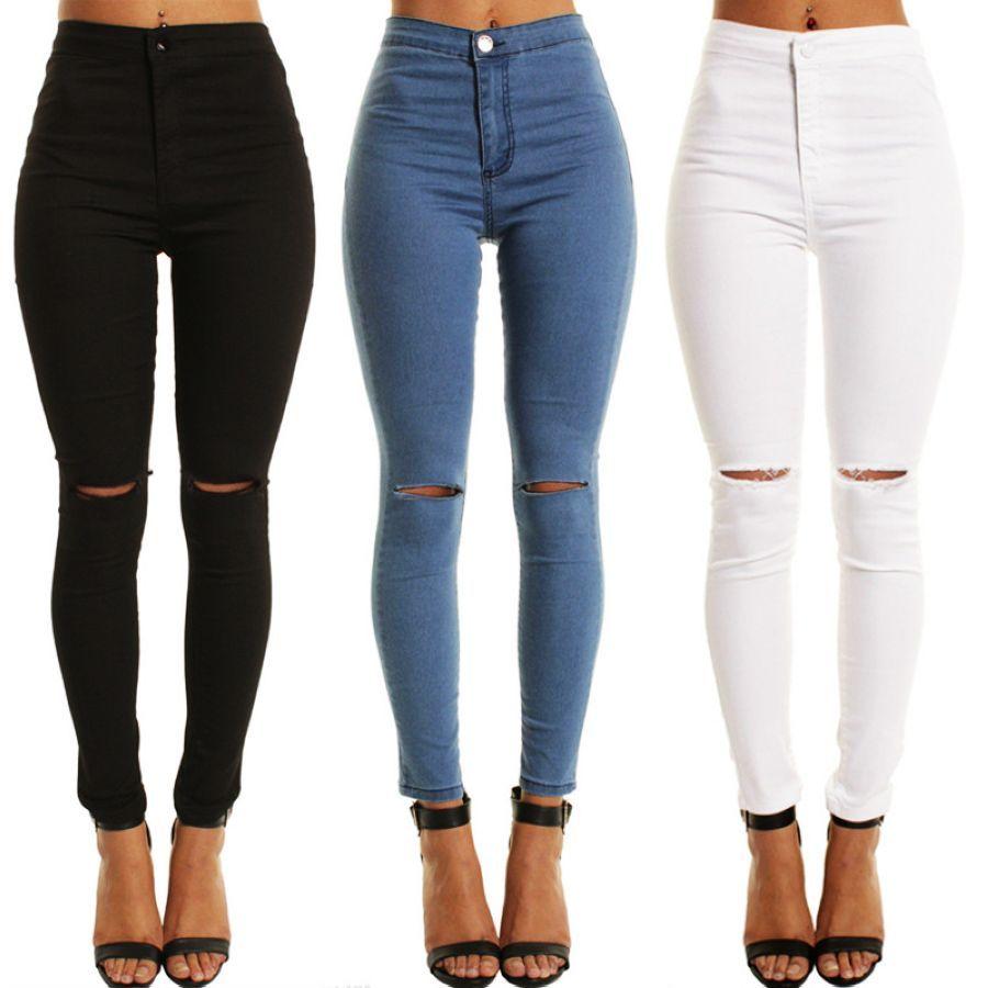 De cintura alta moda novio jeans para mujeres agujero v