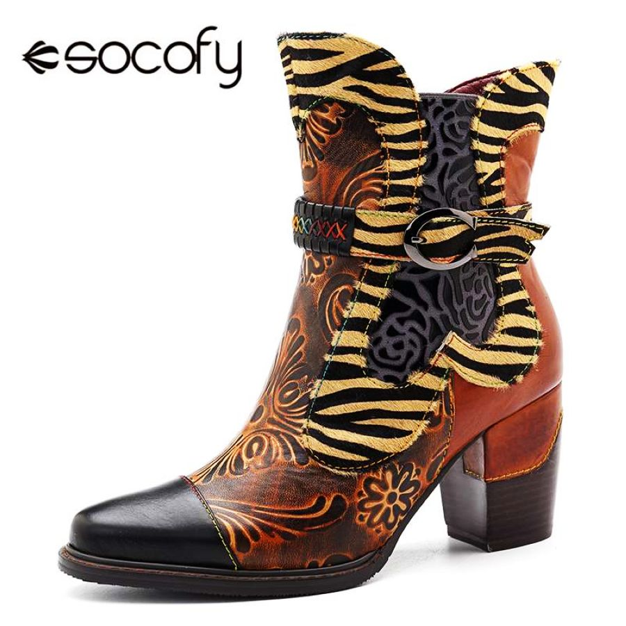 Shoes Socofy Retro Printed Cowgirl Ankle Boots Women Winter Patchwork
