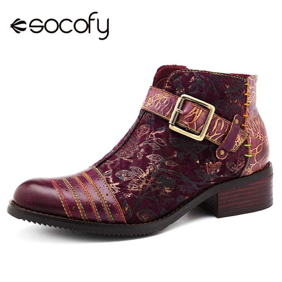 Shoes Socofy Retro Bohemian Boots Women Shoes Woman Spring Autumn