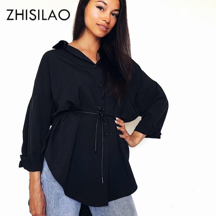 Black Blouse Women Oversize Plus Size Blouse Mujer Long Sleeve