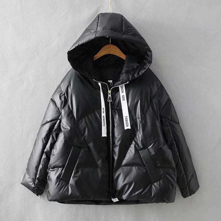 2019 Winter Glossy Hooded Down Parka Womens Ribbons Jackets Large