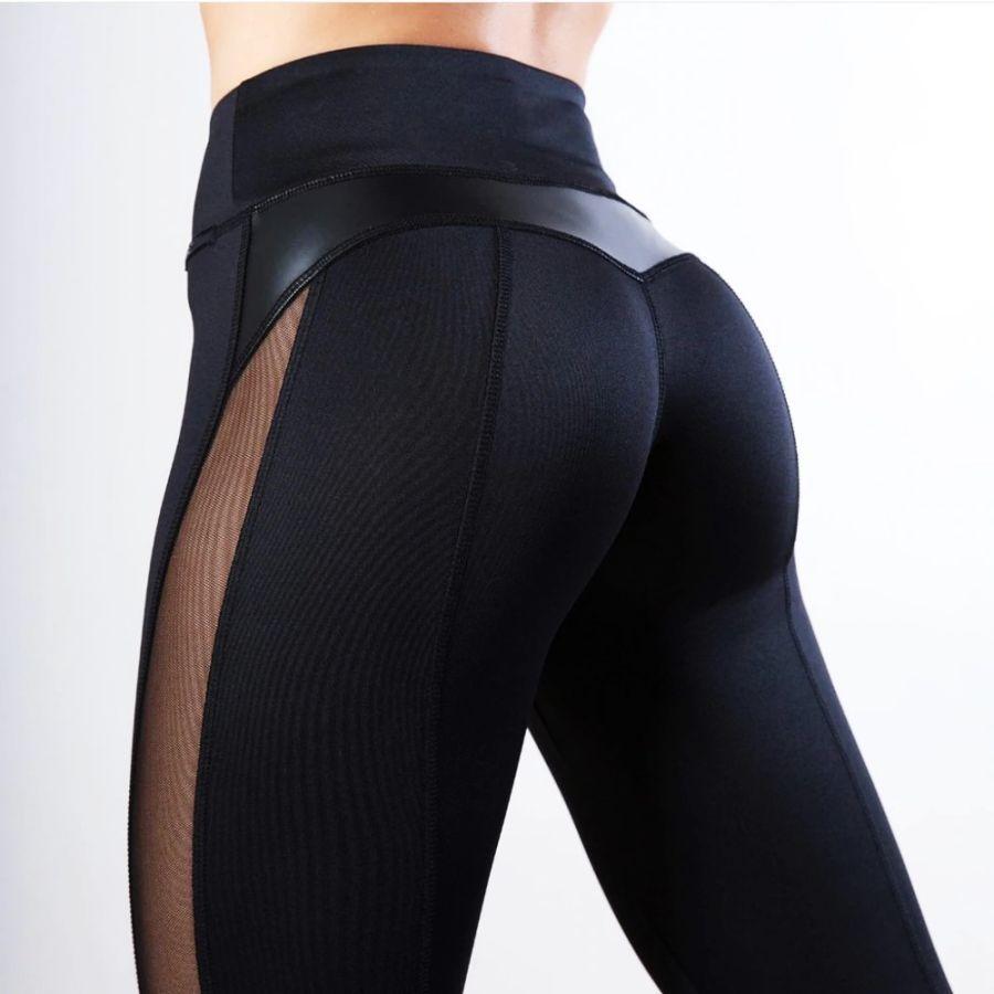 Mesh Leather Patchwork Black Leggings Women High Waist Fitness Push