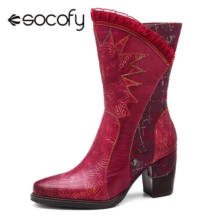 Socofy botas de cuero de vaca de media pantorrilla zapa