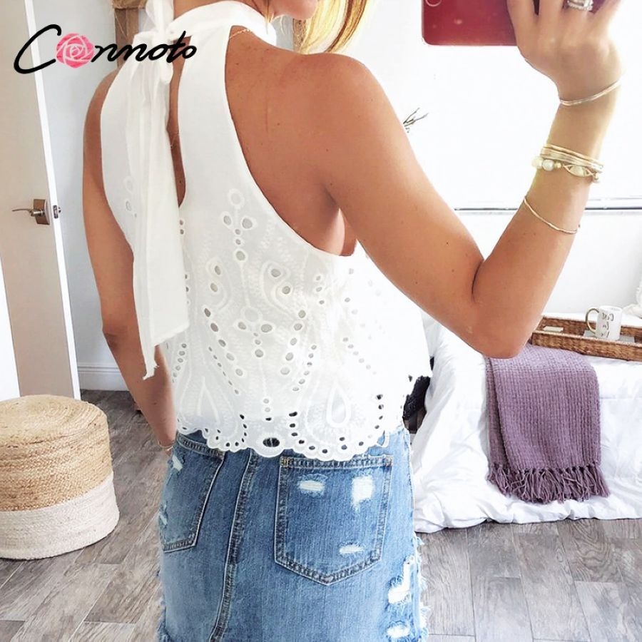 Conmoto White Embroidery Women Tops And Blouse 2019 Summer Off