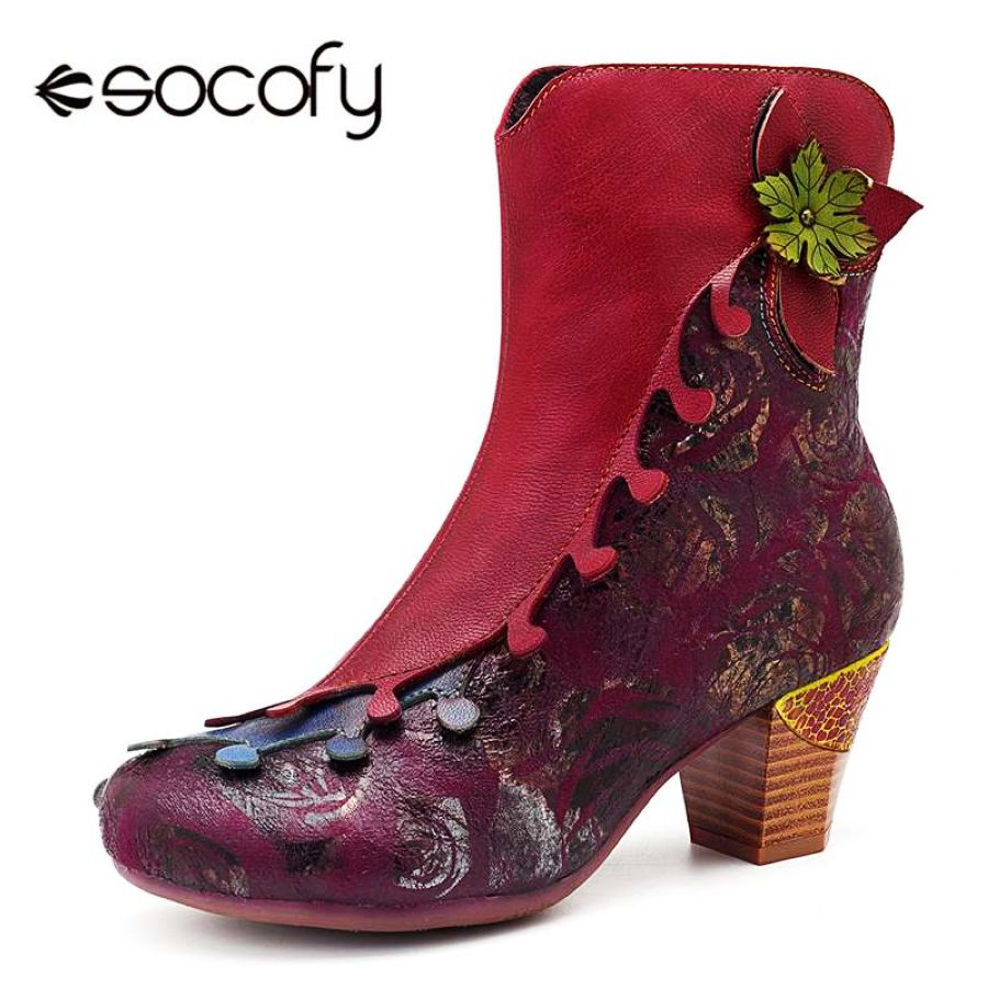 Shoes Socofy Vintage Women Winter Boots Shoe Woman Retro Genuine