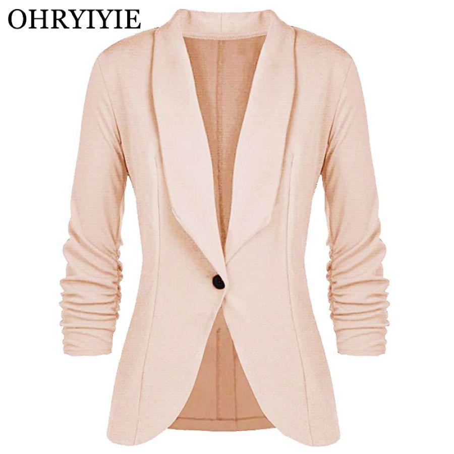Ohryiyie Beige Single Button Women Blazers And Jackets 2019 Spring