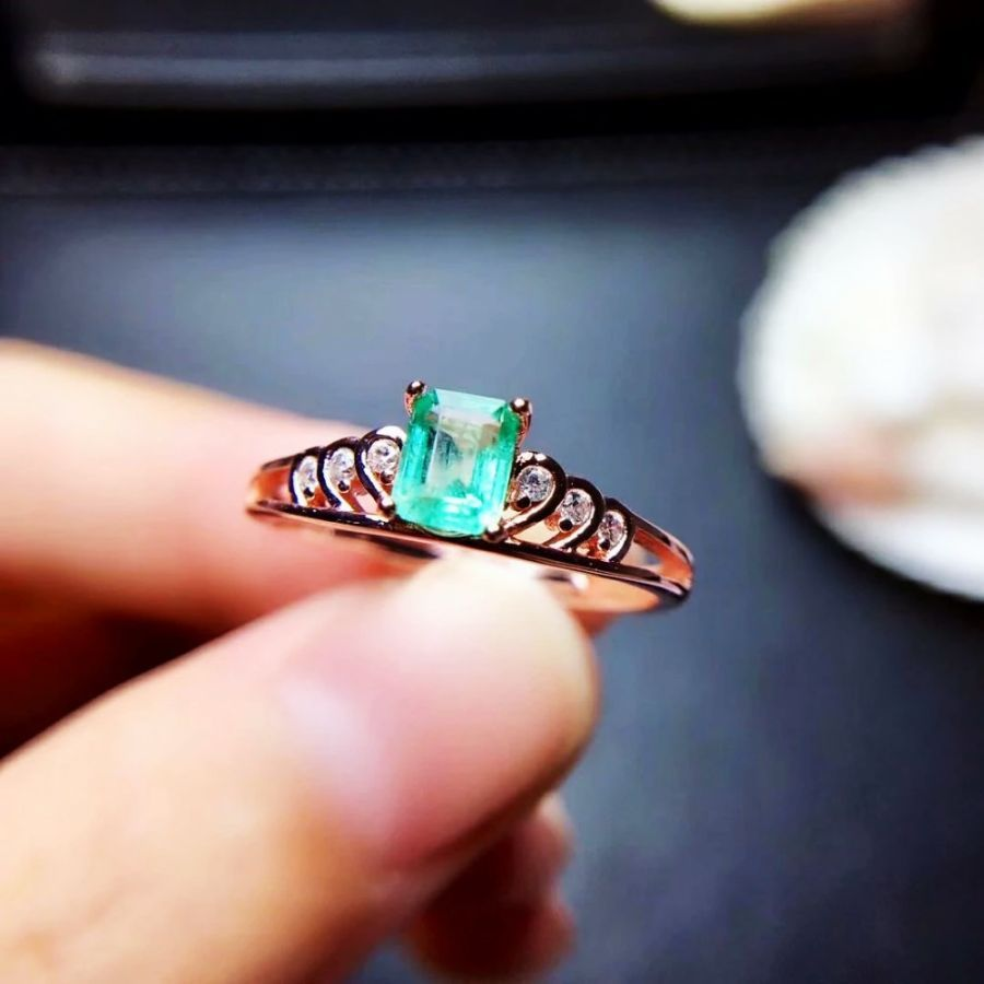100 925 Sterling Silver Real Natural Green Emerald Rings Fine