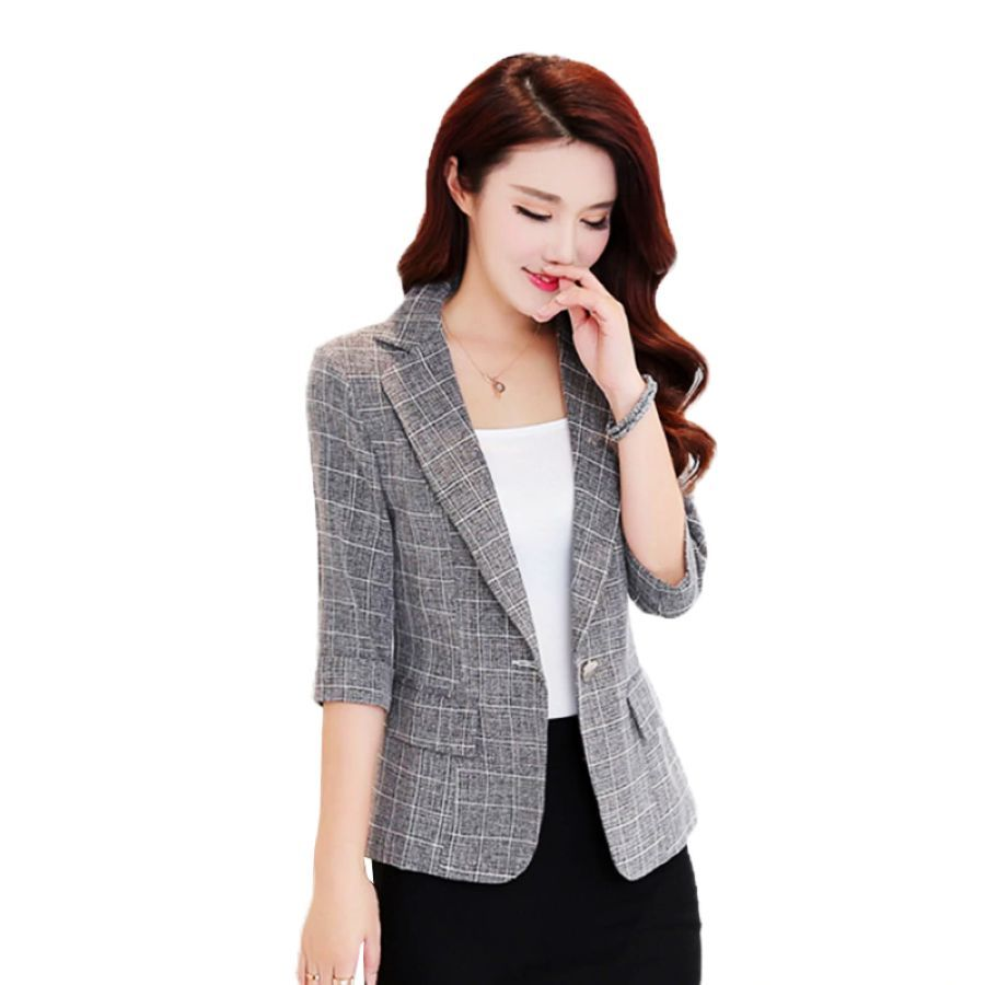 Women Suit 2019 Autumn New Casual Jacket Three Quarter Sleeved